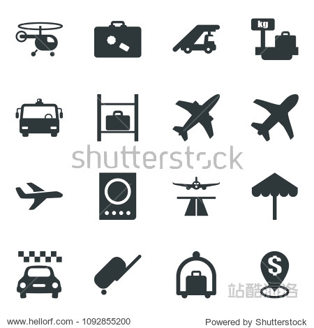 Black vector icon set plane vector  runway  taxi  suitcase  baggage trolley  airport bus  umbrella  passport  ladder car  helicopter  luggage storage  scales  dollar pin