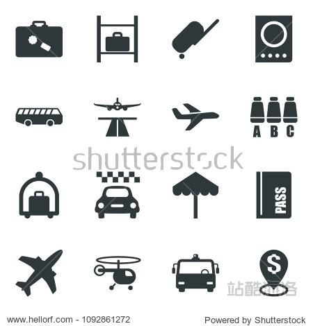 Black vector icon set plane vector  runway  taxi  suitcase  baggage trolley  airport bus  umbrella  passport  helicopter  seat map  luggage storage  dollar pin