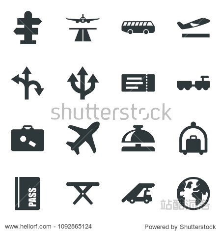 Black vector icon set runway vector  departure  suitcase  baggage trolley  airport bus  signpost  ticket  reception bell  passport  larry  ladder car  picnic table  route  plane  globe