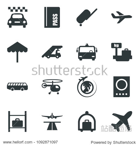 Black vector icon set runway vector  taxi  suitcase  baggage trolley  airport bus  umbrella  passport  ladder car  helicopter  luggage storage  scales  plane globe