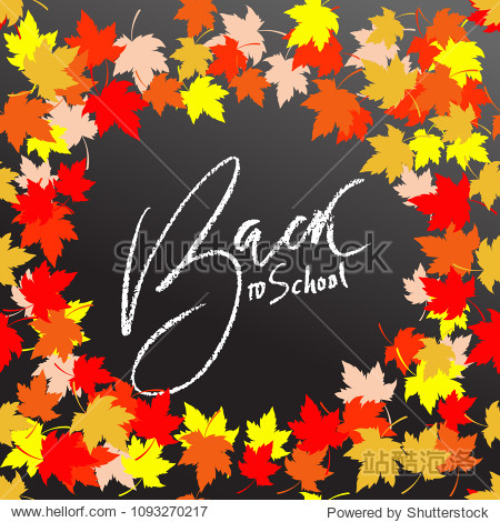 Back to school. Chalk lettering on blackboard surface. Typography poster with autumn leaves. Vector illustration