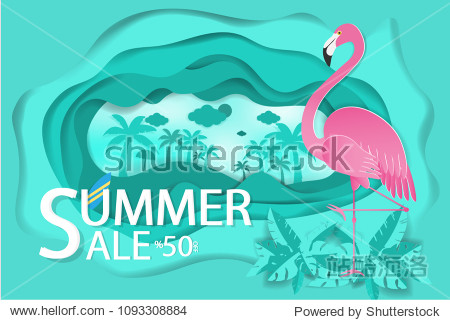 Flamingo of concept summer sale with paper cut background.Paper art idea and digital craft.