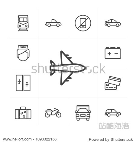 Vector illustration of outline icons for transports  airport and terminal on white background. Set includes transportation   plane   uniform  car  travel   metro   bike modern flat and material icons.