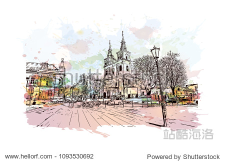 Landmark with building view of Krakow  City in Poland. Watercolor splash with Hand drawn sketch illustration in vector.