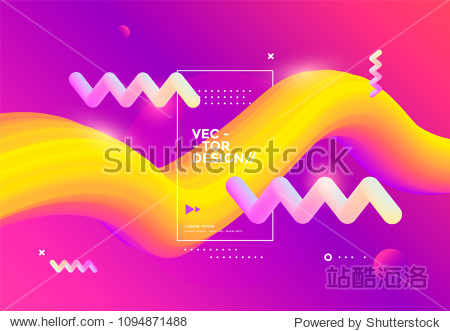 Creative design 3d flow shape. Liquid wave backgrounds. Vector illustration