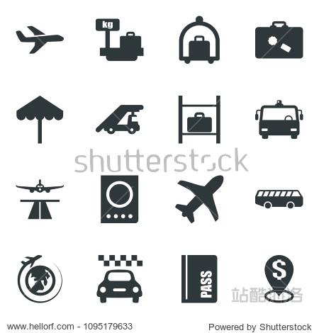 Black vector icon set runway vector  taxi  suitcase  baggage trolley  airport bus  umbrella  passport  ladder car  luggage storage  scales  plane globe  dollar pin