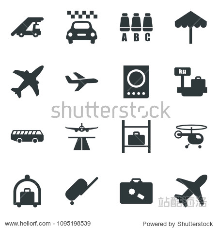 Black vector icon set plane vector  runway  taxi  suitcase  baggage trolley  airport bus  umbrella  passport  ladder car  helicopter  seat map  luggage storage  scales