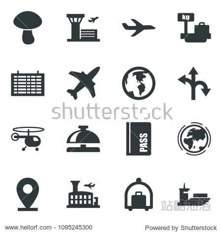 Black vector icon set plane vector  baggage trolley  reception bell  passport  helicopter  flight table  luggage scales  airport building  picnic  earth  route  pin  sea shipping