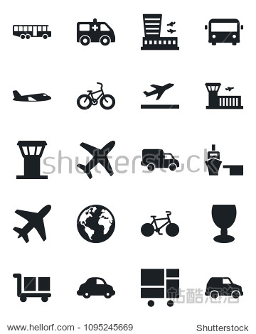 Set of vector isolated black icon - plane vector  airport tower  departure  bus  building  ambulance car  bike  earth  delivery  sea port  consolidated cargo  fragile