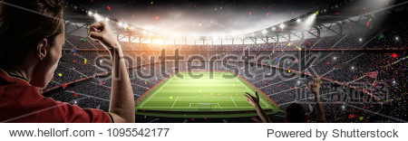 soccer fans vs 3d rendering stadium imaginary