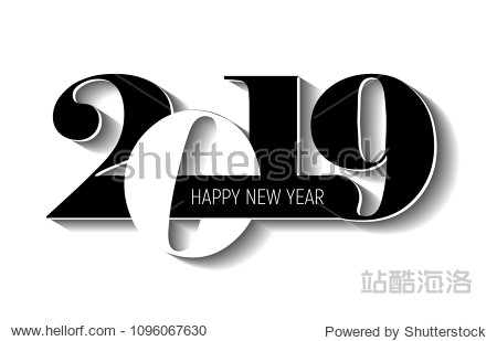Vector modern minimalistic Happy new year card for 2019 with main big numbers