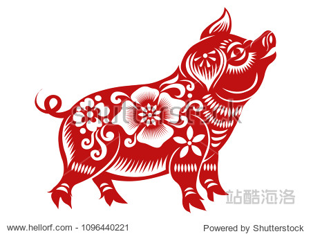 Chinese Zodiac Sign Year of Pig Red paper cut pig Happy Chinese New Year 2019 year of the pig