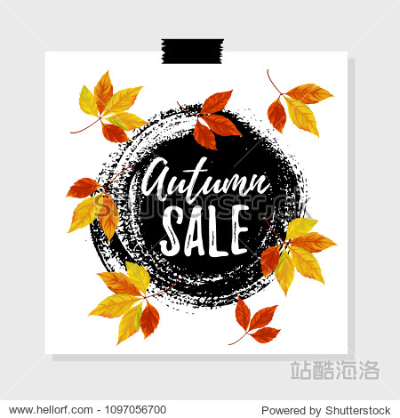 Vector illustration  Autumn sale tag design with bright autumn leaves and hand drawn paint background. Autumn sale text.