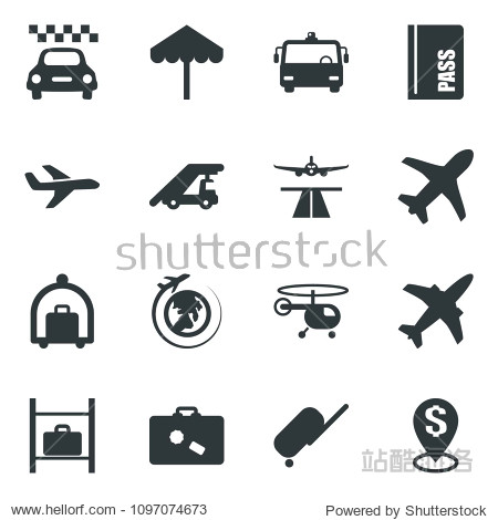 Black vector icon set plane vector  runway  taxi  suitcase  baggage trolley  airport bus  umbrella  passport  ladder car  helicopter  luggage storage  globe  dollar pin