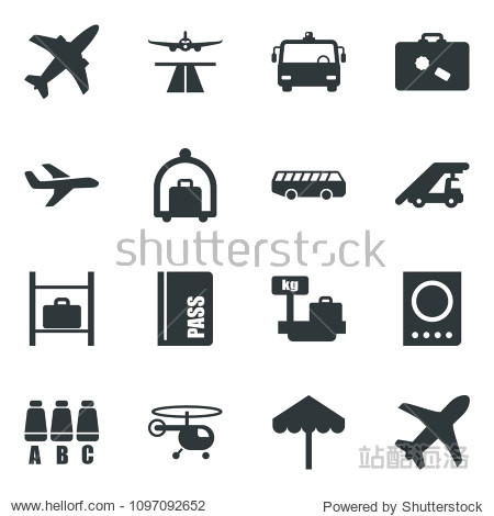 Black vector icon set plane vector  runway  suitcase  baggage trolley  airport bus  umbrella  passport  ladder car  helicopter  seat map  luggage storage  scales