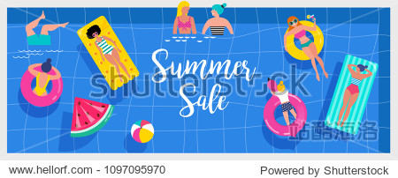 Top view beach background  Pool party  Summer water activities  scene with a lot of tiny people  characters  umbrellas  balls and kids. Vector banner  poster design