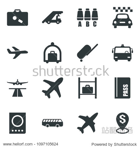 Black vector icon set plane vector  runway  taxi  suitcase  baggage trolley  airport bus  passport  ladder car  seat map  luggage storage  dollar pin