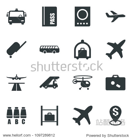 Black vector icon set plane vector  runway  suitcase  baggage trolley  airport bus  passport  ladder car  helicopter  seat map  luggage storage  dollar pin