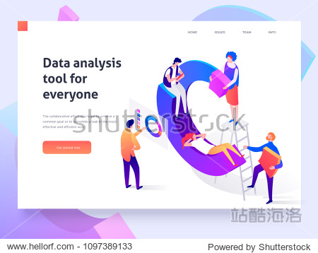 People in a team build a pie chart and interact with graphs. Data analysis  and office situations. Landing page template. 3d isometric illustration