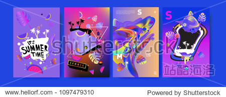 Colorful summer poster set. Tropical summer design template and cover. Summer illustration elements and background in eps 10.