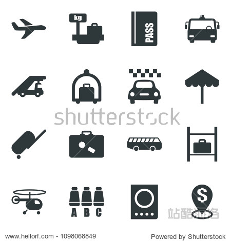 Black vector icon set taxi vector  suitcase  baggage trolley  airport bus  umbrella  passport  ladder car  helicopter  seat map  luggage storage  scales  plane  dollar pin