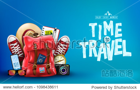3D Realistic Time to Travel Banner with Items for Travelling like Backpack  Backpack  Sneakers  Compass  Mobile Phone  Sunglasses  Hat  Camera and Notebook in Blue Background. Vector Illustration