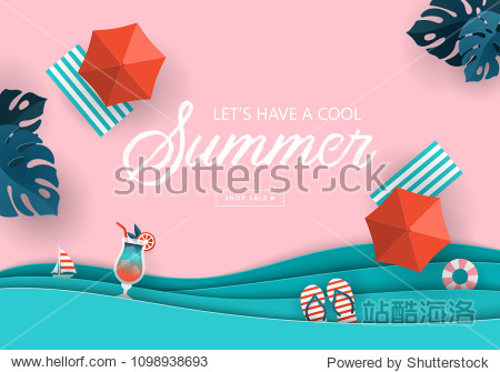 Summer sale banner design with paper cut tropical beach top view background. Vector illustration