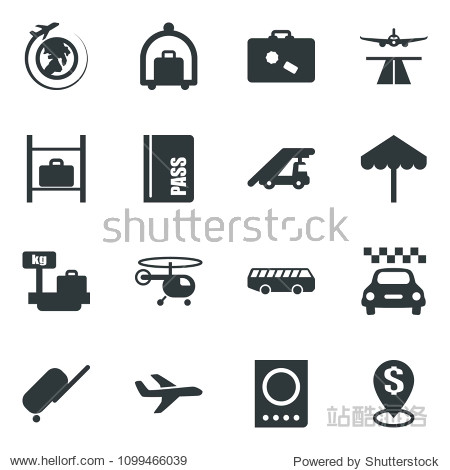 Black vector icon set runway vector  taxi  suitcase  baggage trolley  airport bus  umbrella  passport  ladder car  helicopter  luggage storage  scales  plane globe  dollar pin
