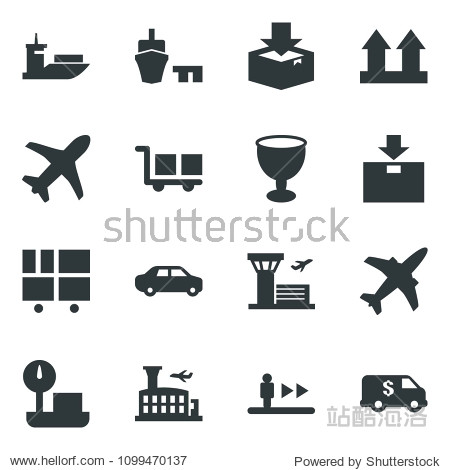 Black vector icon set plane vector  escalator  airport building  sea shipping  car delivery  port  consolidated cargo  fragile  up side sign  package  heavy scales  encashment