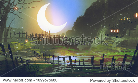 beautiful landscape of garden at night with big crescent moon  digital art style  illustration painting