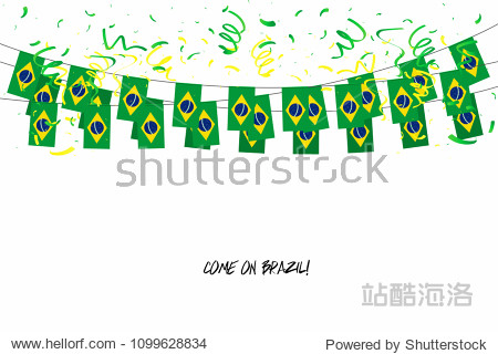 Brazil flags garland with confetti on white background  Hang bunting for Brazil celebration template banner. vector