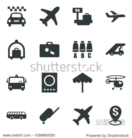 Black vector icon set plane vector  taxi  suitcase  baggage trolley  airport bus  umbrella  passport  ladder car  helicopter  seat map  luggage scales  dollar pin