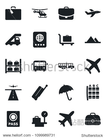 Set of vector isolated black icon - plane vector  runway  suitcase  baggage trolley  airport bus  umbrella  passport  ladder car  helicopter  seat map  luggage storage  scales  mountains  case
