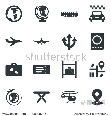 Black vector icon set taxi vector  suitcase  airport bus  ticket  passport  globe  plane  helicopter  luggage storage  picnic table  route  navigation  earth  pin