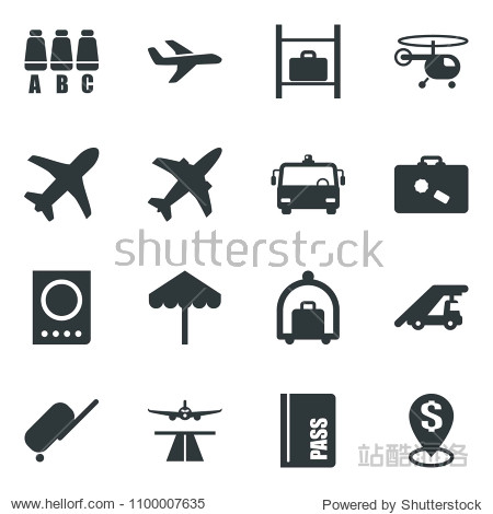 Black vector icon set plane vector  runway  suitcase  baggage trolley  airport bus  umbrella  passport  ladder car  helicopter  seat map  luggage storage  dollar pin