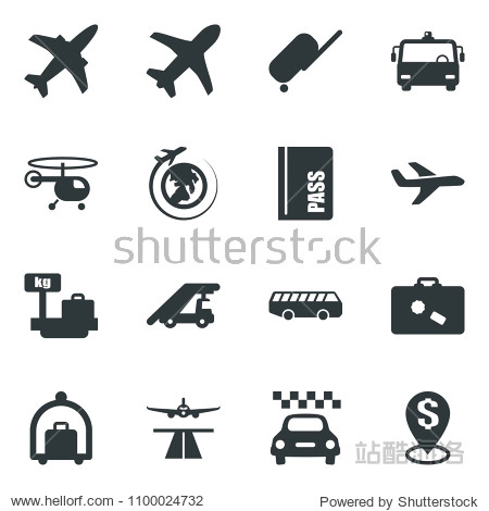 Black vector icon set plane vector  runway  taxi  suitcase  baggage trolley  airport bus  passport  ladder car  helicopter  luggage scales  globe  dollar pin
