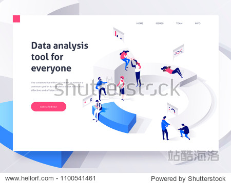 People in a team build a pie chart and interact with graphs. Landing page template. 3d isometric vector illustration