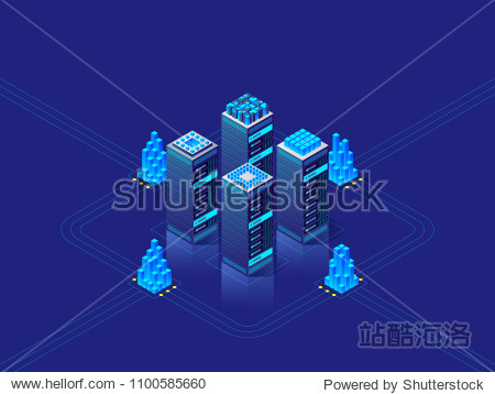 Data center concept. Abstract high technology background for website  header  banner. Vector isometric illustration