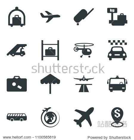 Black vector icon set runway vector  taxi  suitcase  baggage trolley  airport bus  umbrella  ladder car  helicopter  luggage storage  scales  plane globe  dollar pin