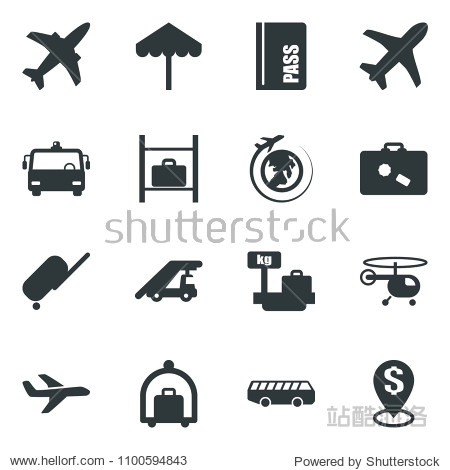 Black vector icon set plane vector  suitcase  baggage trolley  airport bus  umbrella  passport  ladder car  helicopter  luggage storage  scales  globe  dollar pin