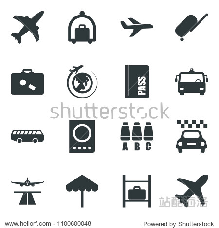Black vector icon set plane vector  runway  taxi  suitcase  baggage trolley  airport bus  umbrella  passport  seat map  luggage storage  globe