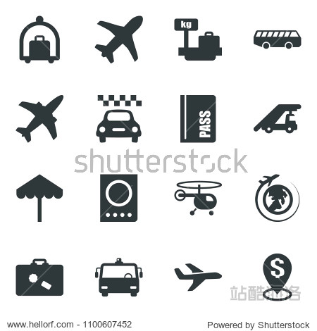 Black vector icon set plane vector  taxi  suitcase  baggage trolley  airport bus  umbrella  passport  ladder car  helicopter  luggage scales  globe  dollar pin