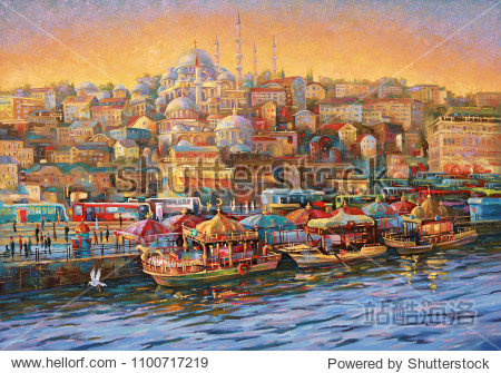 Artwork. Istanbul. Golden Horn Bay. Author: Nikolay Sivenkov.