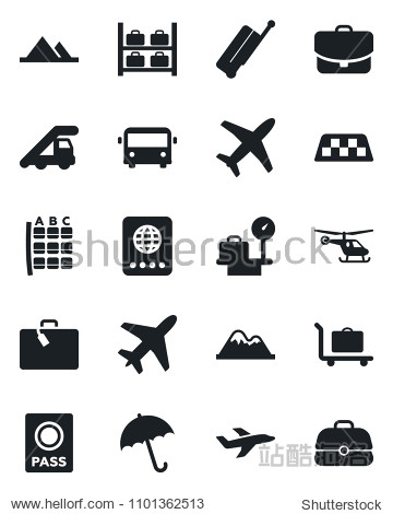 Set of vector isolated black icon - plane vector  taxi  suitcase  baggage trolley  airport bus  umbrella  passport  ladder car  helicopter  seat map  luggage storage  scales  mountains  case