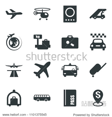 Black vector icon set runway vector  taxi  suitcase  baggage trolley  airport bus  passport  ladder car  helicopter  luggage scales  plane globe  dollar pin