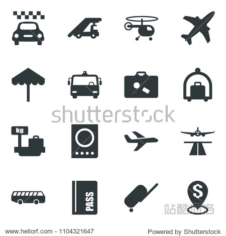 Black vector icon set plane vector  runway  taxi  suitcase  baggage trolley  airport bus  umbrella  passport  ladder car  helicopter  luggage scales  dollar pin