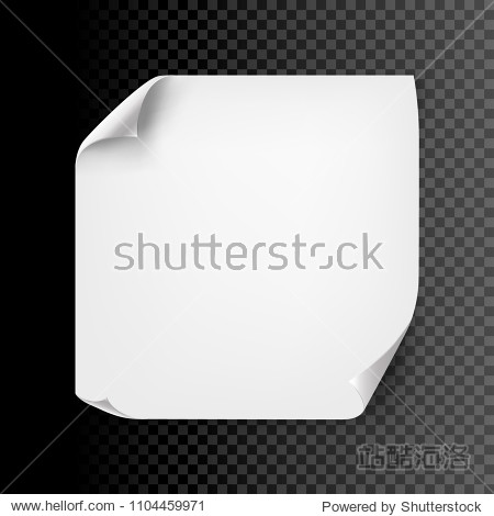 Empty curl paper sheet isolated. Vector note page blank message background with curl corner.