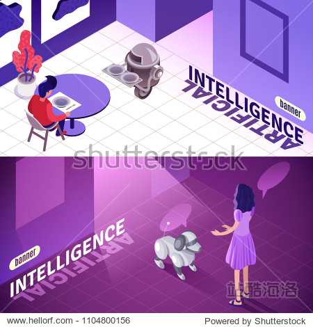 Artificial intelligence isometric horizontal banners with machine waiter  child playing with robotic dog isolated vector illustration