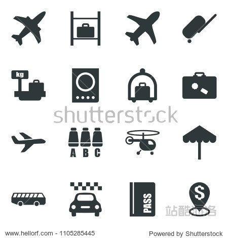 Black vector icon set plane vector  taxi  suitcase  baggage trolley  airport bus  umbrella  passport  helicopter  seat map  luggage storage  scales  dollar pin
