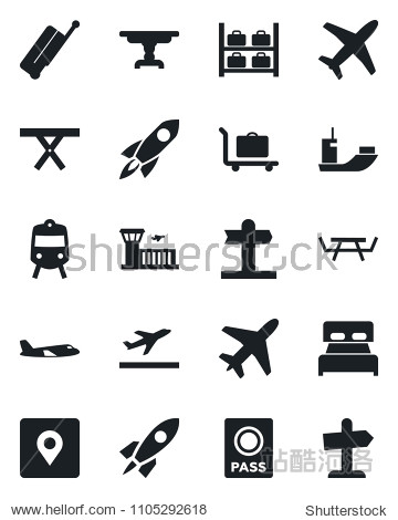 Set of vector isolated black icon - plane vector  suitcase  departure  baggage trolley  train  passport  luggage storage  airport building  picnic table  signpost  sea shipping  place tag  bedroom